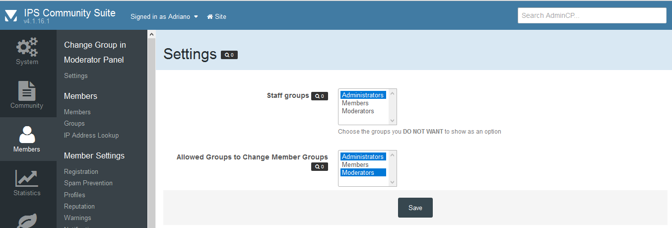 Change Group in Moderator Panel