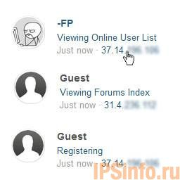 Clickable IP in Online Users List