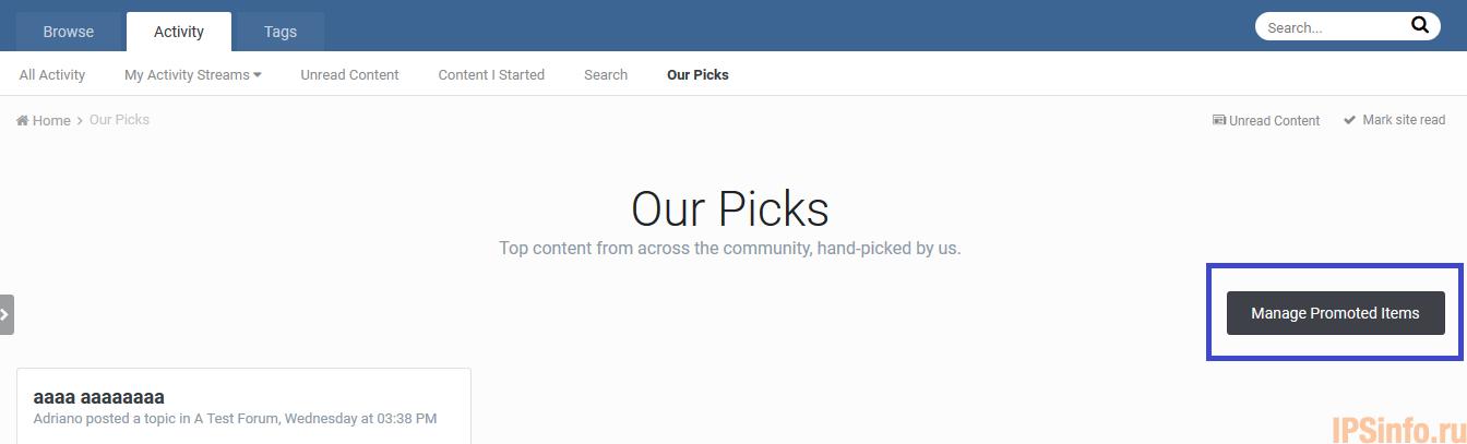 Our Picks Management Link