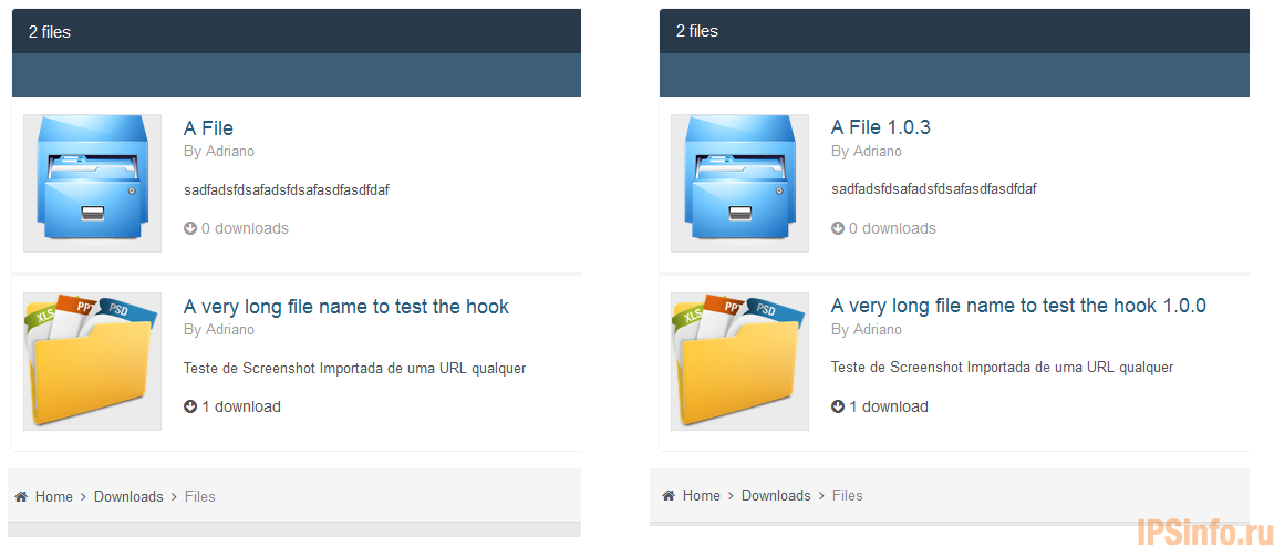 File Version on Downloads Categories