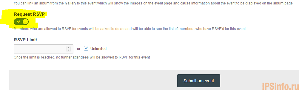Request RSVP Enabled on New Events