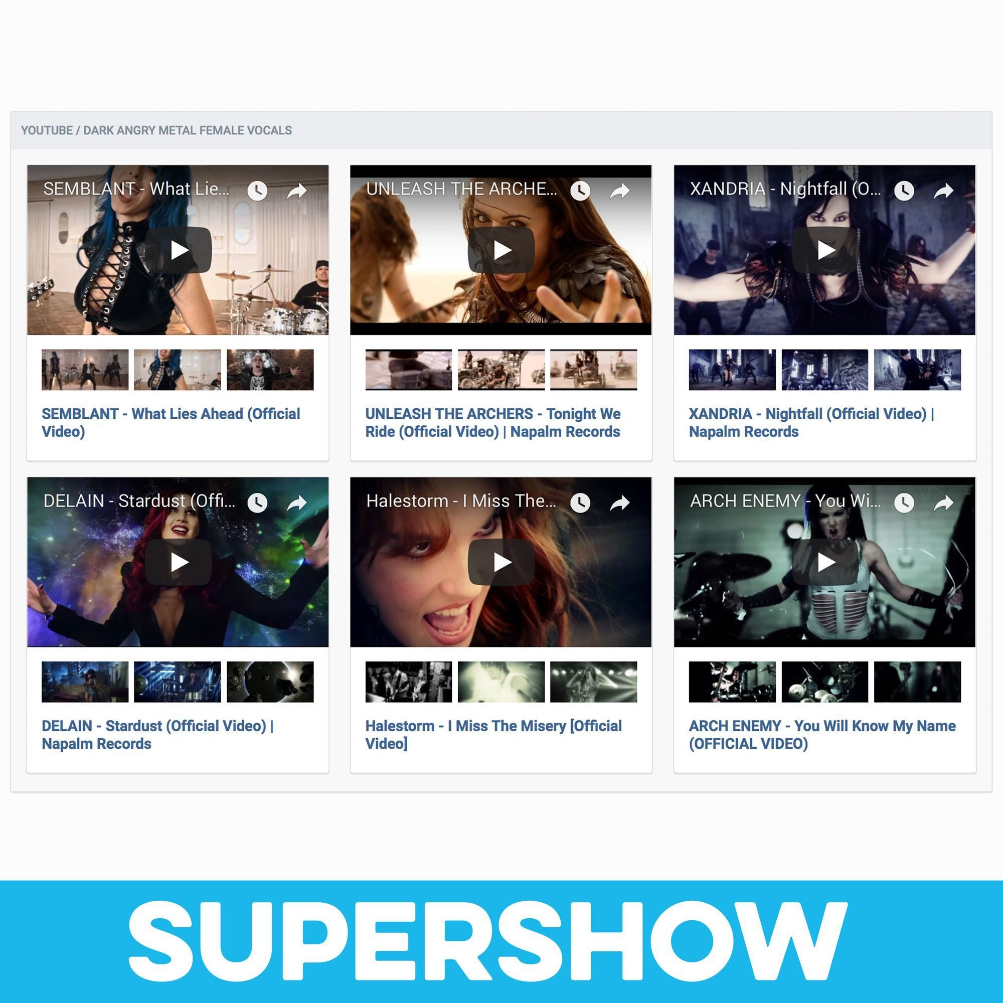 SuperShow (YouTube/Vimeo Feed Widget)