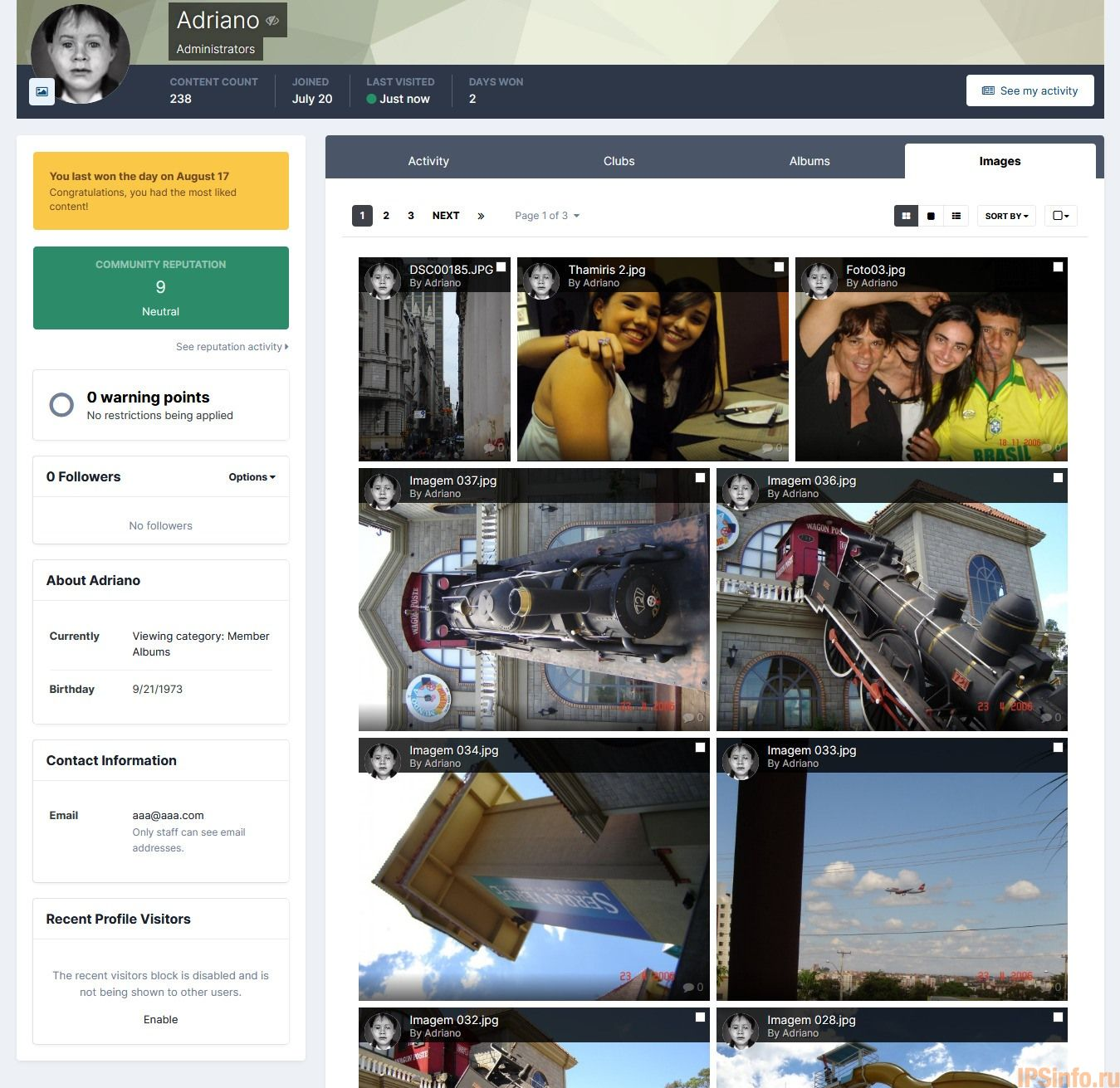 Gallery Images Tab on User Profile