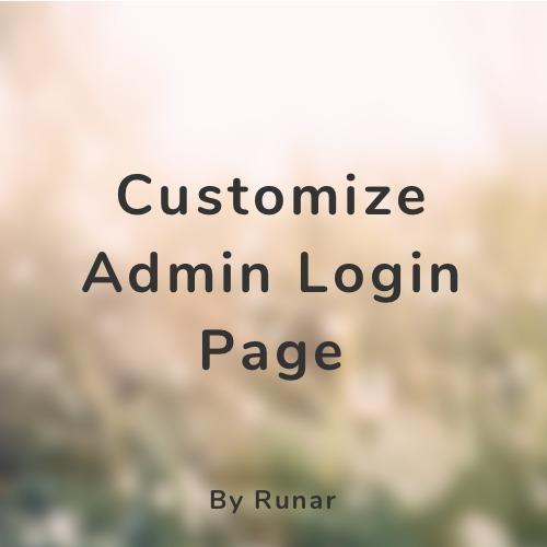 Customize Admin Login Page