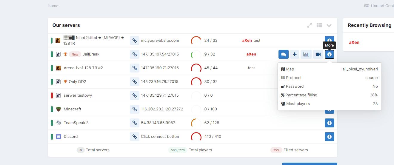 (aXen) Advanced Server List